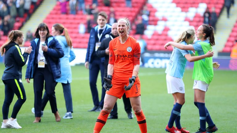 Karen Bardsley celebrates City's win.