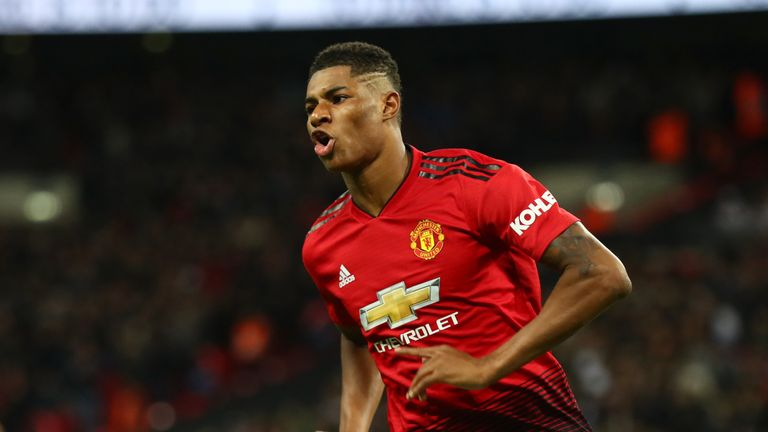 Marcus Rashford's Manchester United take on rivals City in a rearranged derby on April 24