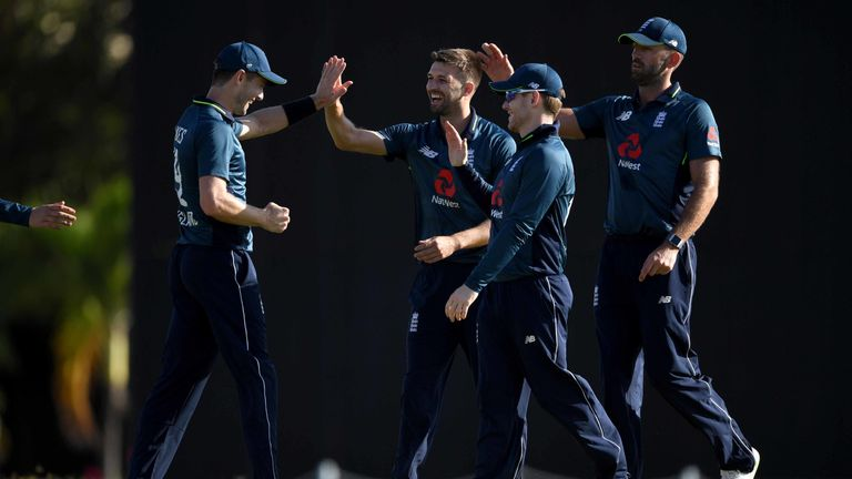 Mark Wood celebrates a wicket in England's ODI warm-up at Three Ws Oval in Barbados