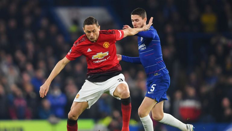 Nemanja Matic holds off Jorginho on Monday night