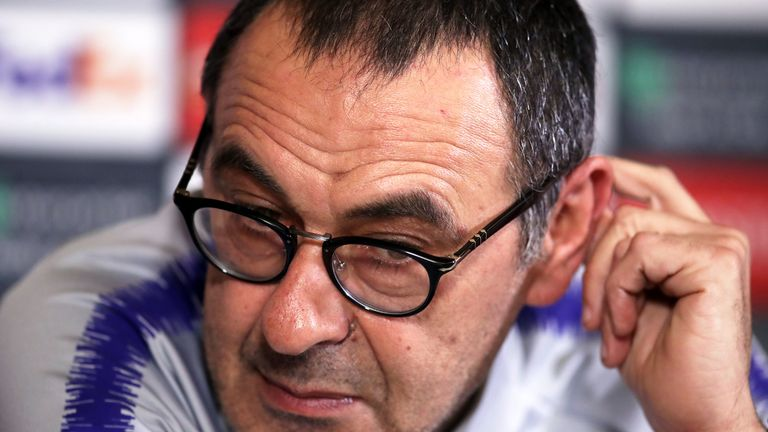Chelsea manager Maurizio Sarri during the press conference at Cobham