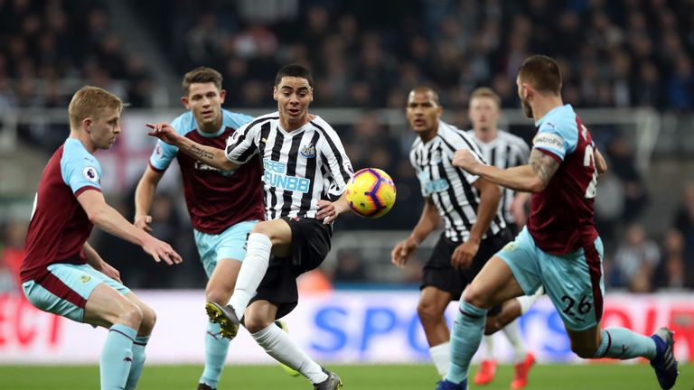 Almiron takes on the Burnley defence at St James' Park