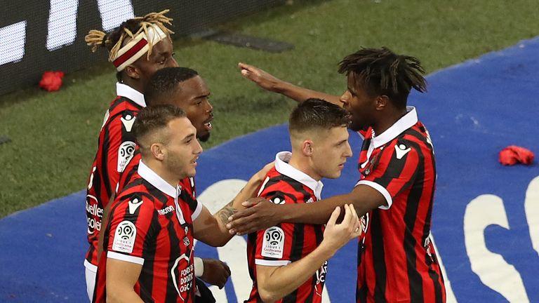 Nice celebrate scoring against Lyon