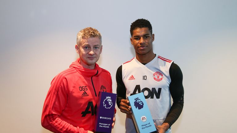 Rashford and Solskjaer won the Premier League player and manager of the month awards for January