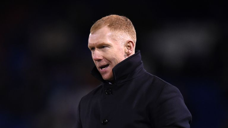 Paul Scholes enjoyed a 4-1 win in his first match as the new Oldham boss