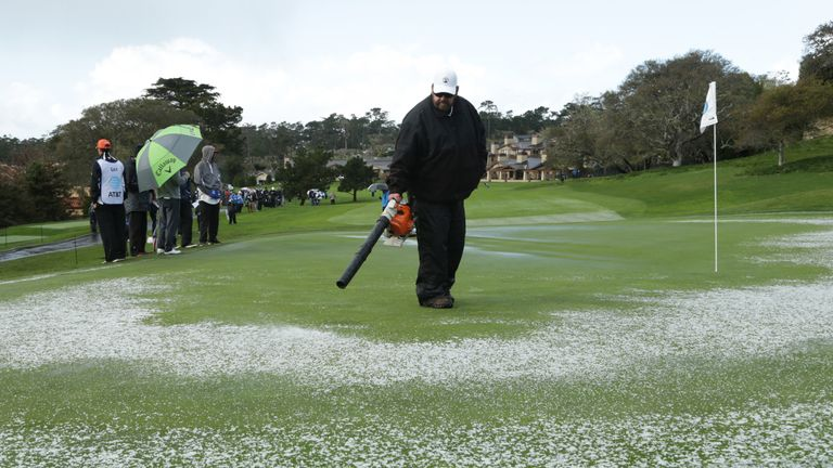 A hail storm stopped play just before the final groups got underway