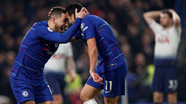 Pedro celebrates scoring the opening goal with Eden Hazard