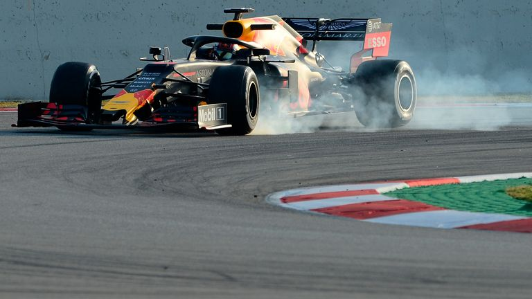 Pierre Gasly in the Red Bull. A controlled lock-up?