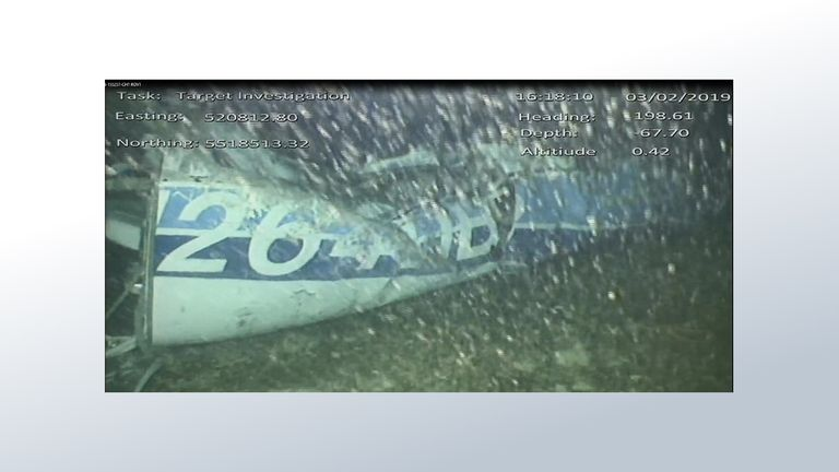 The first picture of Emiliano Sala's plane in the Channel. It shows the rear left side of the fuselage including part of the aircraft registration (credit: AAIB)