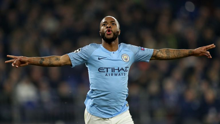 Raheem Sterling celebrates scoring Manchester City's fourth goal