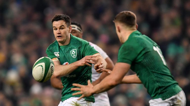 Ireland's Johnny Sexton distributes the ball during his side's 2019 Six Nations clash with England in Dublin