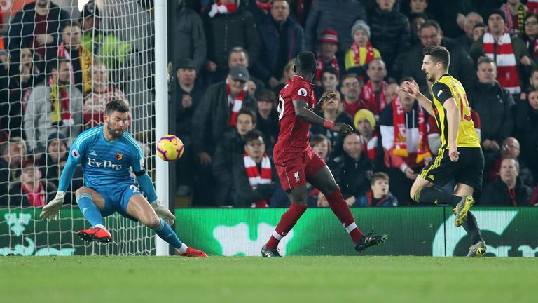 Mane scores with a backheel to make it 2-0