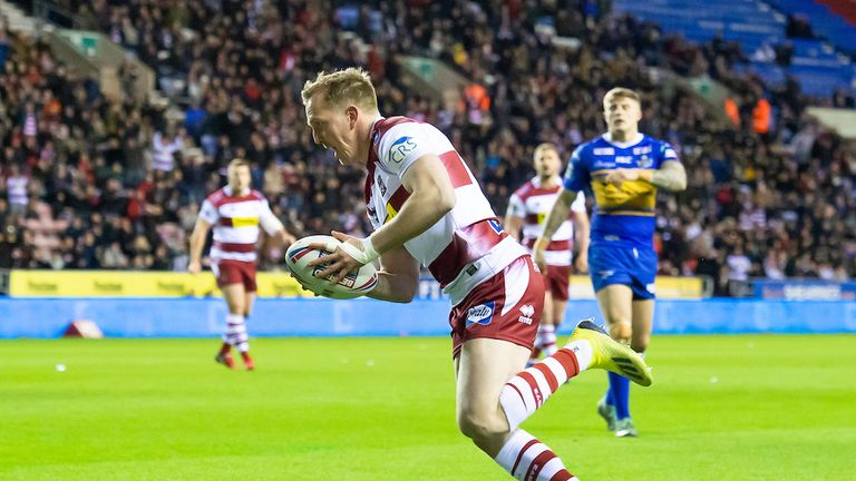 Dan Sarginson on his way to Wigan's instant response to the early setback
