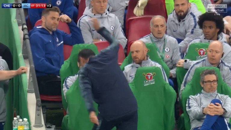 Sarri throws down a bottle of water in frustration as Kepa refuses to be subbed