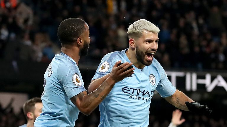 Sergio Aguero celebrates his hat-trick goal - but it was a contentious one