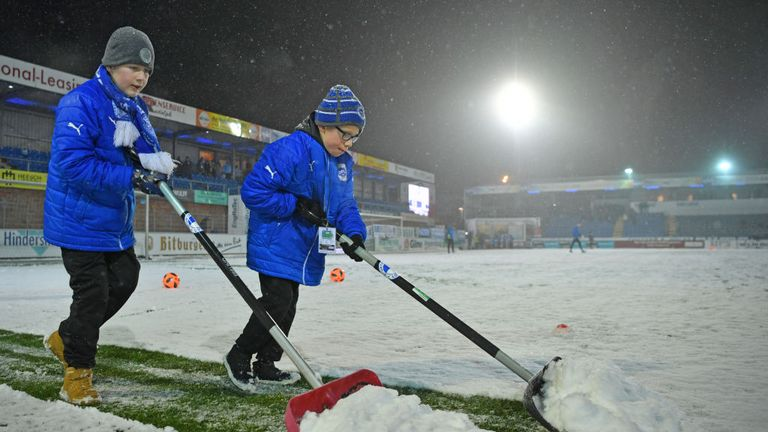 EFL clubs have had volunteersclearing playing surfaces and areas surrounding stadiums