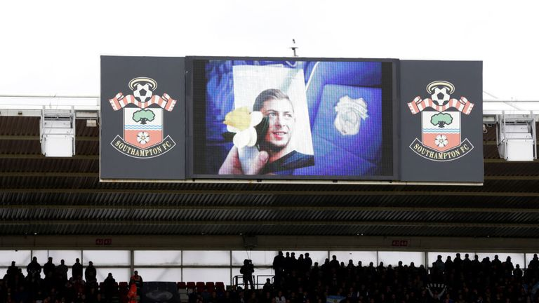 Tributes were held for Emiliano Sala before the match at St Mary's between Southampton and Cardiff on Saturday