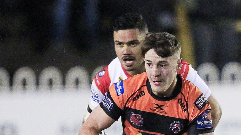 Castleford's Jake Trueman exploits a gap in the Catalans Dragons' defence