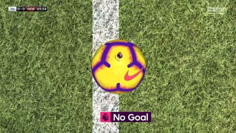 Christian Eriksen's flicked effort was just cleared off the line by Fabian Schar in the second half, confirmed by the goal decision system (GDS)