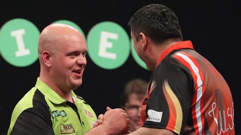 Michael van Gerwen defeated Mensur Suljovic en route to winning his fifth consecutive Masters title earlier this month