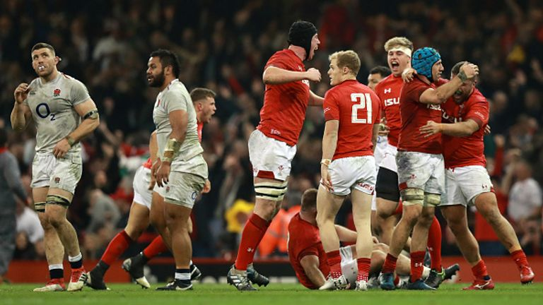 Wales celebrate their record-breaking victory against England