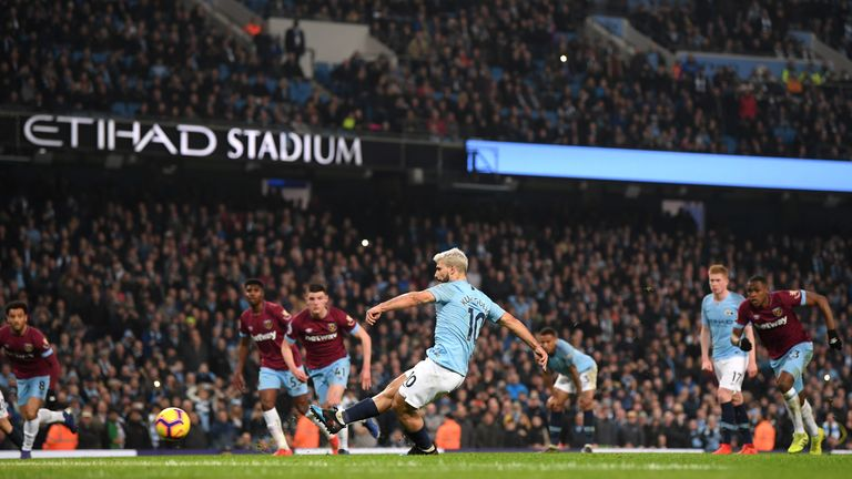 Sergio Aguero breaks the deadlock from the spot after 59 minutes