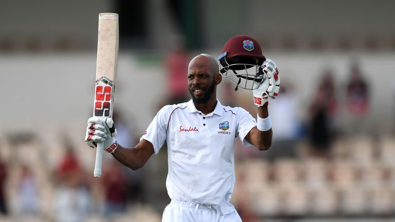 Roston Chase celebrates his century in the third Test against England
