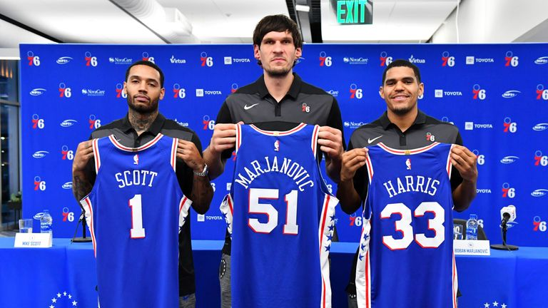 Tobias Harris meets the media as a member of the Philadelphia 76ers