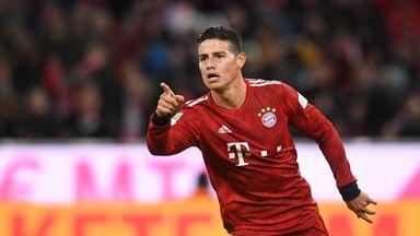 James Rodriguez celebrates scoring for Bayern against Mainz