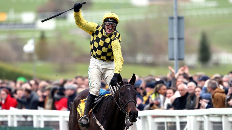 Paul Townend celebrates his victory in the Cheltenham Gold Cup on Al Boum Photo