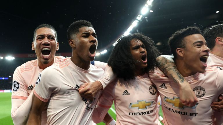 Rashford celebrates with team-mates