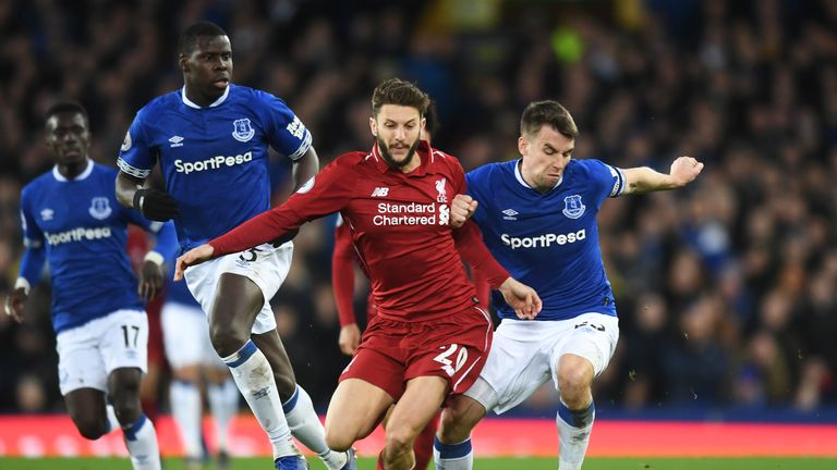 Adam Lallana during Liverpool's 0-0 draw away at Everton