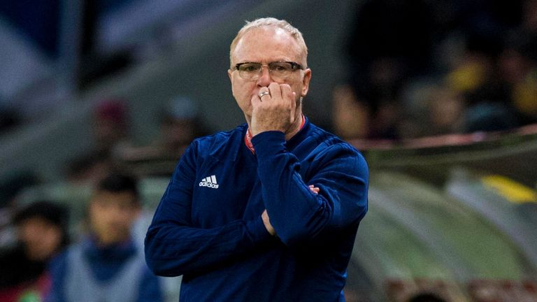 Scotland manager Alex McLeish watches on frustrated