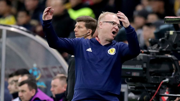McLeish cut a frustrated figure during the Scotland loss in Astana