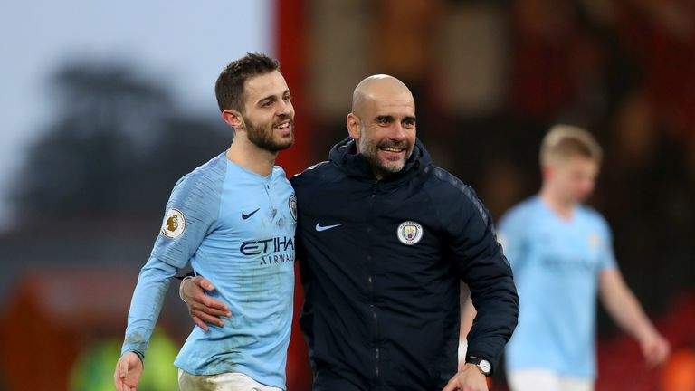 Bernardo Silva and Pep Guardiola celebrate the win over Spurs