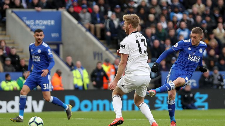 Vardy strokes in his second of the game against Fulham