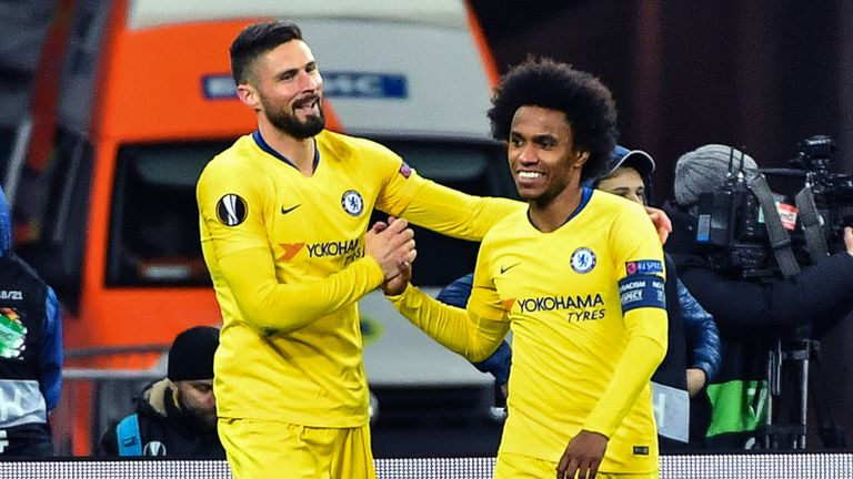 Willian set up two of Giroud's three goals