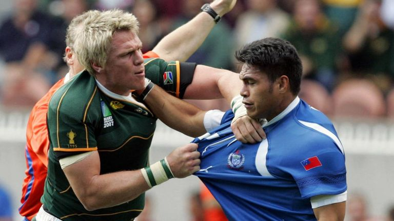 Former Samoa lock forward Daniel Leo, right, has hit out at World Rugby's plans