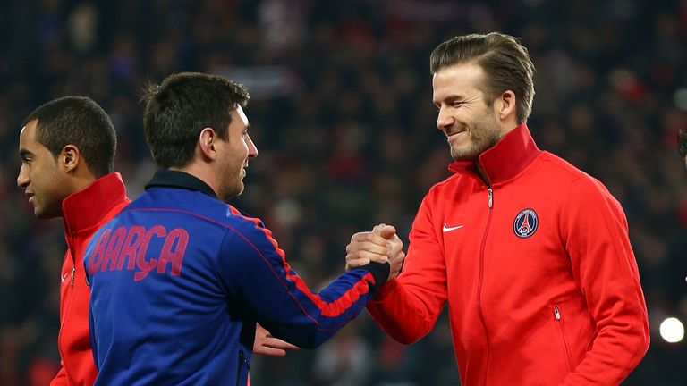 Beckham and Messi shake hands before a Champions League quarter-final tie between PSG and Barcelona in 2013