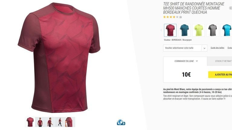 The shirt worn by Venezuela on Monday bore a striking resemblance to one sold by sports outlet Decathlon