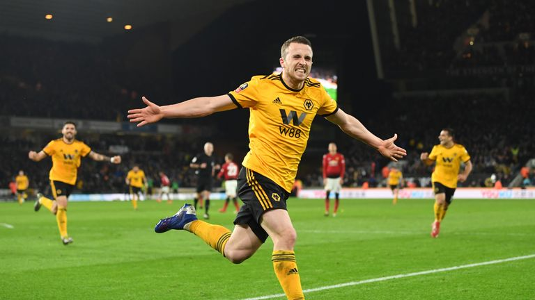 Diogo Jota celebrates scoring Wolves' second goal against Manchester United