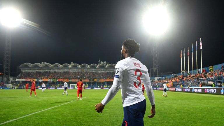 England's Danny Rose was subject to racist chanting after he was booked late on against Montenegro