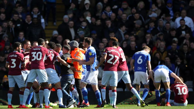 Jack Grealish was attacked and punched by a pitch invader at St Andrew's on Sunday