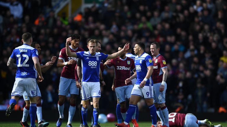 Birmingham and Aston Villa players confronted each other in the fifth minute of Sunday's game