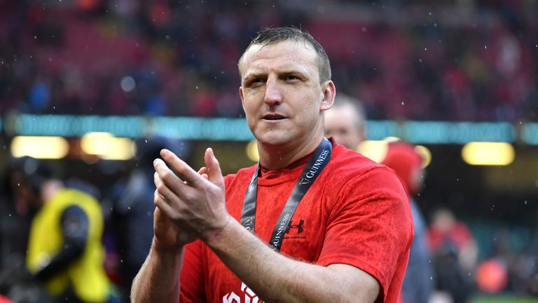 Hadleigh Parkes of Wales applauds fans after Wales completed the Grand Slam in Cardiff