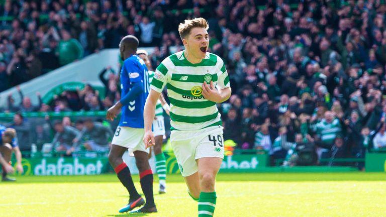 James Forrest celebrates scoring the winner for Celtic against Rangers in March