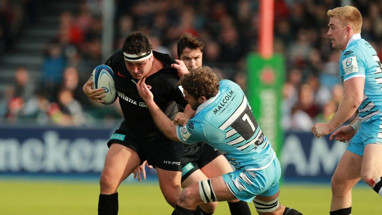 Jamie George on the charge for Saracens