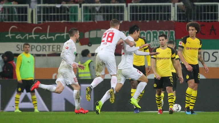 Ji Dong-won scored twice against his former club for relegation-threatened Augsburg
