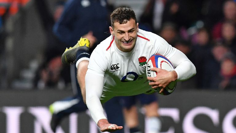 Jonny May scored England's bonus-point try against Scotland