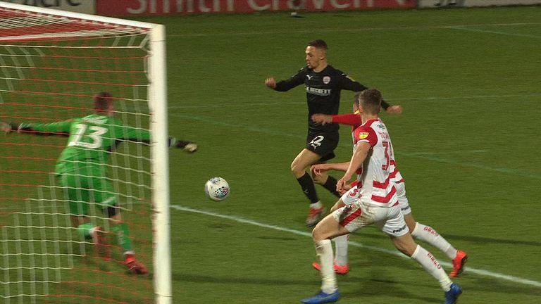 Jordan Williams takes a shot against Doncaster